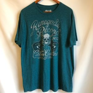 HELIX Renegade Records Skull Band Tee Style Shirt